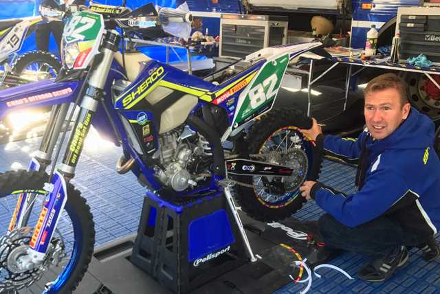 Dave Suter preparing a Sherco 300 SEF-R for Andy Wilksch in Germany
